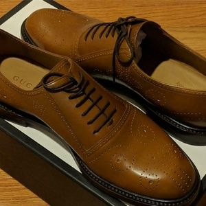 Mens Gucci Leather Bee Brogue Leather Oxford Shoes
